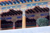 Wooden balcony. Jokhang temple-Lhasa-Tibet. 1410 — Stock Photo