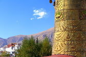 Dhvaja-victory banner on rooftop-Potala on backgroung. Jokhang-Lhasa-Tibet. 1423 — Stock Photo