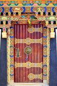 Profusely decorated door. Gyantse-Tibet. 1572 — Stock Photo