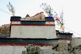 Dzong-fortress seen over townhouse. Gyantse-Tibet. 1608 — Stock Photo