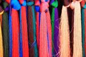 Manycolored threads for weaving. Shigatse-Tibet. 1665 — Stock Photo