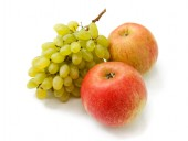 Ripe red apples and grapes — Stock Photo
