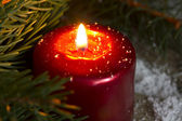 Christmas red candle wit fir closeup — Stockfoto