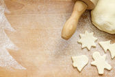 Abstract christmas food backing background on vintage board — Stock Photo