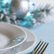 Christmas table with cutlery and tableware abstract background — Stok fotoğraf #57137725