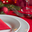 Christmas table with cutlery and tableware abstract background — Stock fotografie #57138853
