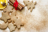 Christmas baking gingerbread cookies food background — Stock Photo