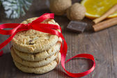 Christmas cookies with red ribbon closeup — Stok fotoğraf