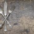 Old vintage cutlery and dishware abstract food background — Stock Photo #66389785
