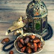 Dates, arabic lantern and rosary. Oriental decoration — Stock Photo #52408689