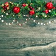 Christmas decorations garland with red apple and green pine — Stock Photo #52409485