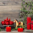 Christmas decorations with red candles and vintage toys — Stock Photo #52409739