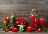 Christmas decoration with burning candles. nostalgic home interi — Photo