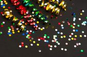 Colorful streamer and confetti. party decoration — Stock Photo