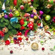 Still life with christmas tree and broken decoration balls — Stock Photo #52410475