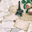 Roses, antique french postcards and Eiffel Tower Paris — Stock Photo #52412723
