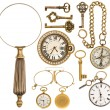 Collection of golden vintage accessories, jewelry and objects — Stock Photo #52413001