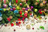 Still life with christmas tree and broken decoration balls — Stock Photo