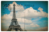 Antique french postcard  from paris with eiffel tower and blue s — Stock Photo