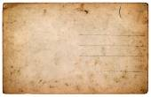 Old postcard. aged blank paper sheet isolated on white — Stock Photo
