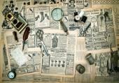 Antique accessories, vintage fashion newspaper advertising — ストック写真