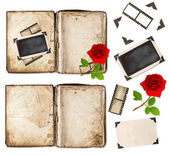 Old book, photo frameds and red rose flower. scrapbook elements — Stock Photo