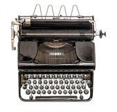 Old typewriter isolated on white background. Antique object — Stock Photo