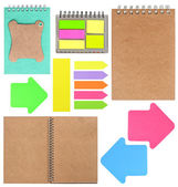 Ring books, memos, tags, note papers and stickers — Stock Photo