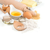 Baking ingredients eggs, flour, yeast, sugar, butter. kitchen ut — Stok fotoğraf
