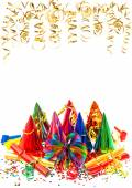 Carnival party decoration garlands, streamer and confetti — Stock Photo