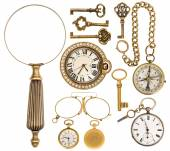 Collection of golden vintage accessories, jewelry and objects — Stock Photo