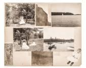 Vintage photo album page. Antique photographs — Stock Photo