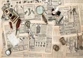 Acessórios antigos, costura e escrever ferramentas, publicidade vintage — Fotografia Stock