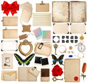 Old book pages, paper sheets, corner and photo frames — Stock Photo
