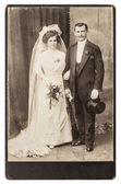 Antique wedding photo. portrait of just married couple — Stock Photo