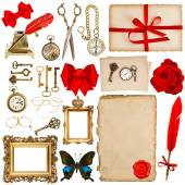 Paper sheets with vintage accessories isolated on white. scrapbo — 图库照片