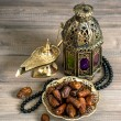 Dates, arabian lantern and rosary. Islamic holidays — Stock Photo #54091993