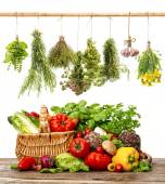 Vegetables and herbs. shopping basket. healthy food — Stock Photo