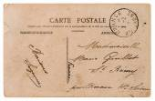 Empty antique french postcard. retro style paper background — Foto de Stock