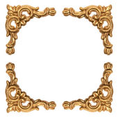 Golden elements of carved baroque frame isolated on white — Stock Photo