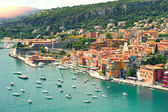 Mediterranean sea. Villefranche, french riviera. sun beams — Stock Photo