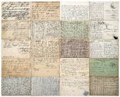Antique postcards. old handwritten undefined texts. french carte — Stock Photo