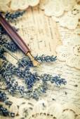Vintage ink pen, dried lavender flowers and old love letters — Stock Photo