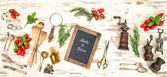 Vintage kitchen utensils with red tomatoes and herbs — Foto de Stock