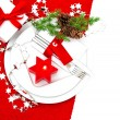Festive christmas table place setting decoration — Stock Photo