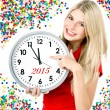 New year 2015. five to twelve. big clock and party decoration — Stock Photo #54788919