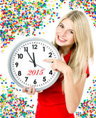 New year 2015. five to twelve. big clock and party decoration — Stock Photo