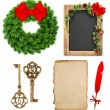 Christmas decoration tools and evergreen wreath wit red ribbon — Stock Photo #56532513