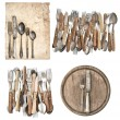 Aged paper, antique kitchen utensils and vintage silver cutlery — Stock Photo #56538237