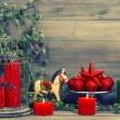 Christmas decorations with red candles and vintage toys — Stock Photo #56538811